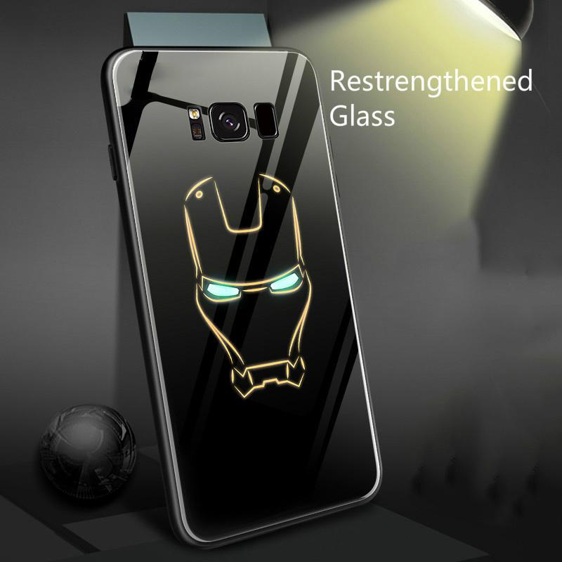 competitive price 34e62 863c7 Marvel Iron Man Batman Luminous Glass Phone Case For Samsung Galaxy S8 S9  S10 e Plus Note 8 9 Avengers Black Panther Cover Coque