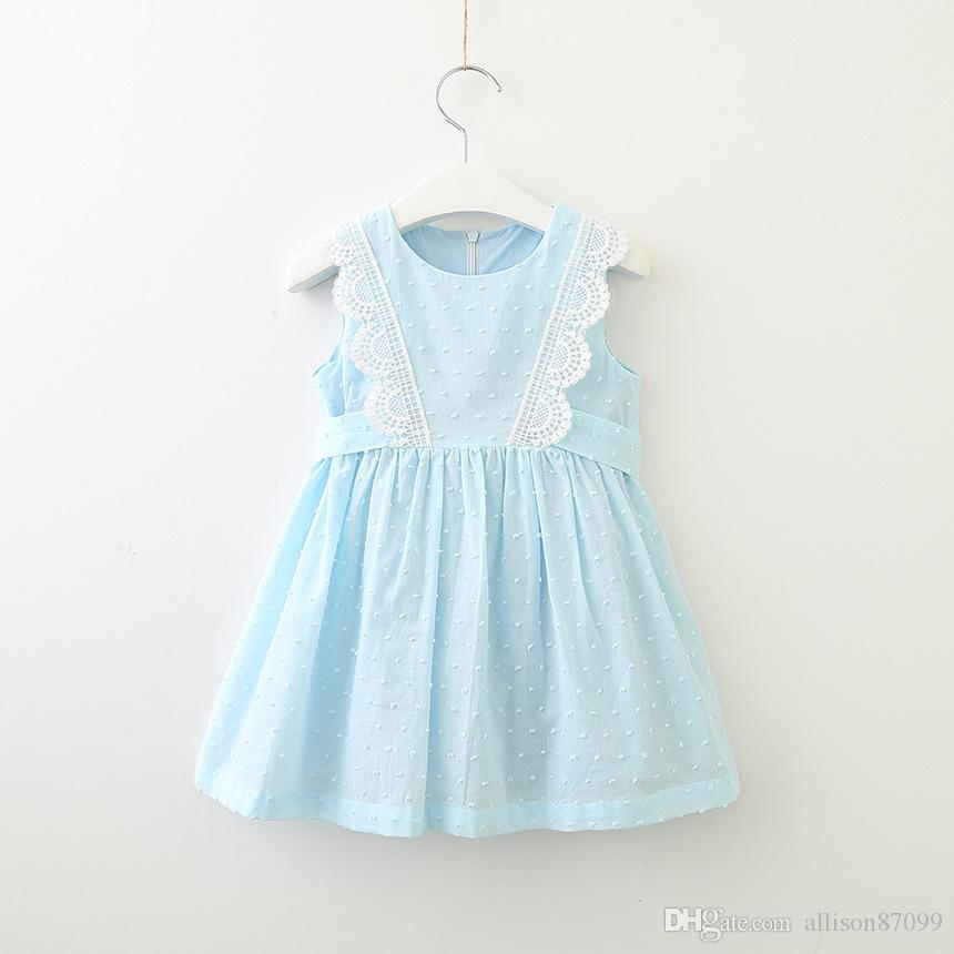 Sweet New Kids Girls Clothes Corea Dress senza maniche con pizzo Trim Partysu Jacquard Dots Abiti all'ingrosso 2-7Y