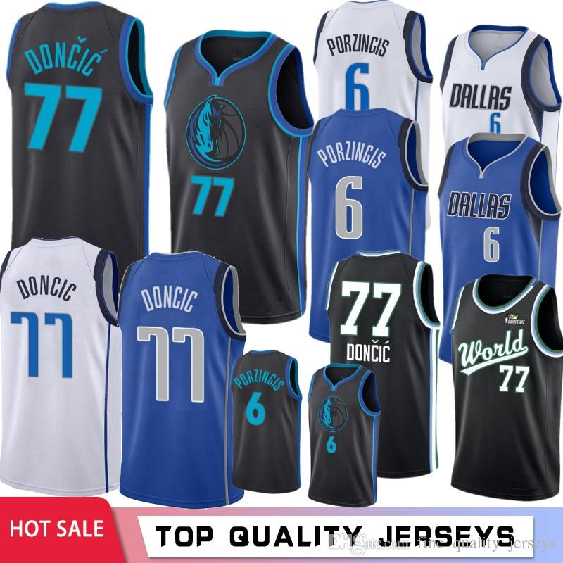 brand new 8941d 32f82 6 Kristaps # Porzingis #Dallas Basketball Jerseys Mavericks 77 Luka Blue  Doncic 41 Dirk # Nowitzki White Black