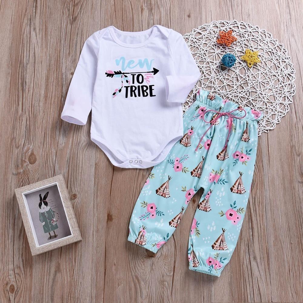 09e534a714ff 2019 Good Quality Children Clothing Set Baby Girls Letter Print Long  Sleeves Romper+Print Pants Set Vetement Enfant Fille Girls Cloth From  Cynthia02, ...