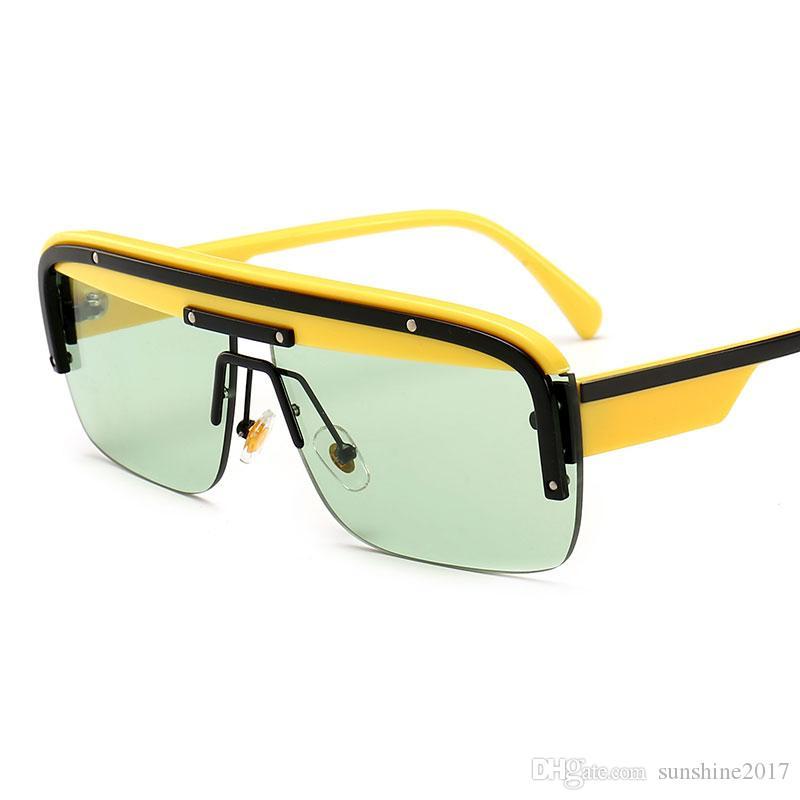 ca23b9390c Male Yellow Green Game Eyewear 2019 New Design Luxury Brand Sunglasses Half Frame  Glasses Summer Black Sun Glasses Fat Top Sunglasses Women Locs Sunglasses  ...