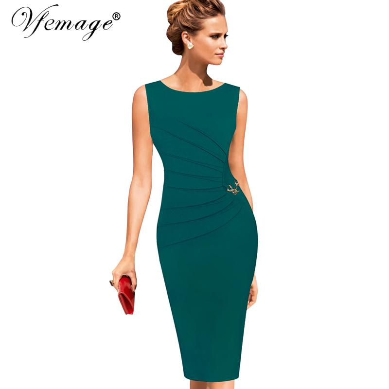 b6c2147c770cd Vfemage Womens Celebrity Elegant Vintage Ruched Pinup Wear To Work Office  Business Casual Party Fitted Bodycon Pencil Dress 1041 Q190425