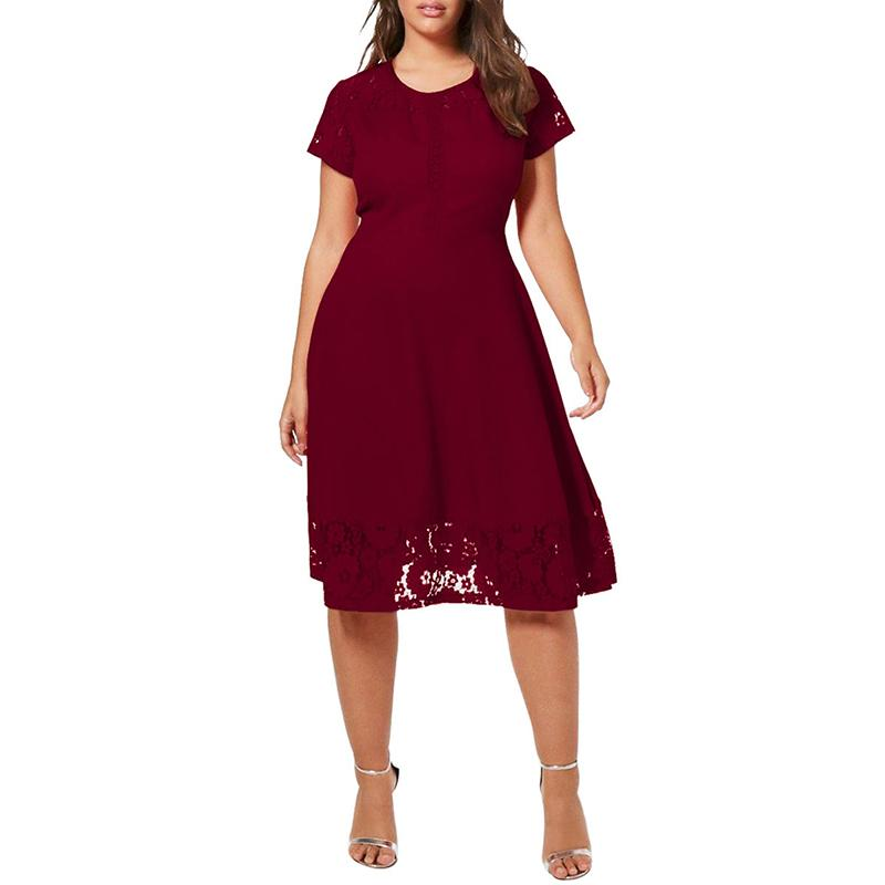 9e272530f3831 5XL Women Plus Size Summer Dress Patchwork Lace Short Sleeve High Waist  A-Line Dress Elegant Ladies Casual Black Midi Dresses