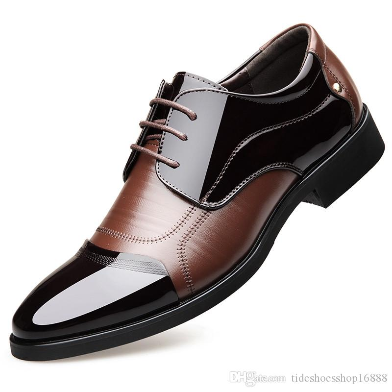 c2958f3d8254 Height Increasing 6CM Breathable Pointed Toe Decent Elegant Formal Men  Dress Shoes 2019 Patent Leather Office Wedding Shoes Man Oxfords Sexy Shoes  Clogs For ...