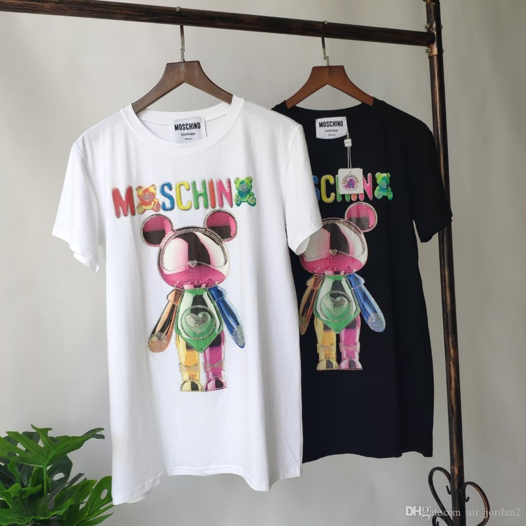 19ss New Arrival Hot Sale MSQN Hot drilling Mouse Tshirts Printing Short Sleeve Tee Breathable Vest Shirt Streetwear Outdoor Tee