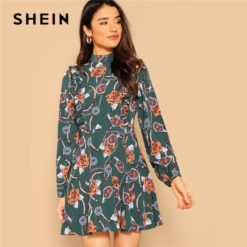 4f36af2255 wholesale Green Mock Neck Ruffle Trim Floral And Chain Print Dress A-Line  Dress With Ruffles Elegant Women Bohemian Style Dresses