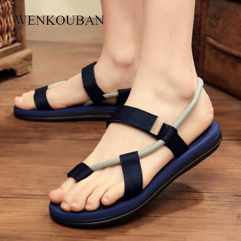 b264e98636f1 Summer Beach Sandals Men Casual Male Shoes Adult Roman Gladiator Sandals  Slip On Flats Slippers Flip Flops Zapatos Hombre Flat Shoes Wedge Shoes  From ...