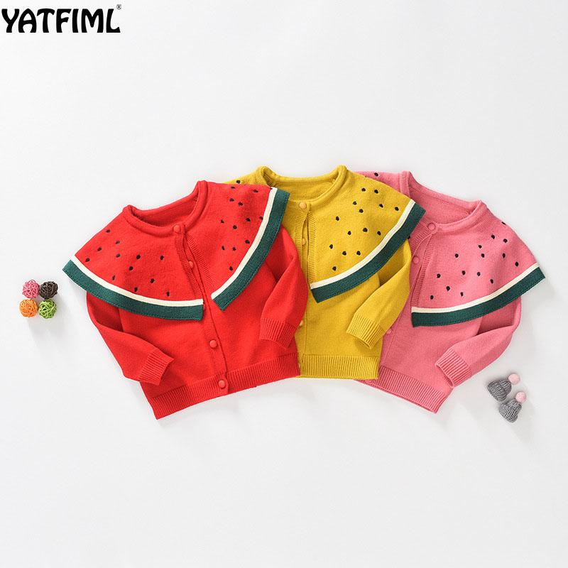 YATFIML 2018 NEW lovely AUTUMN WINTER baby girl sweater Watermelon Sweater Cardigan for girls Thick 0-5 Years old girl