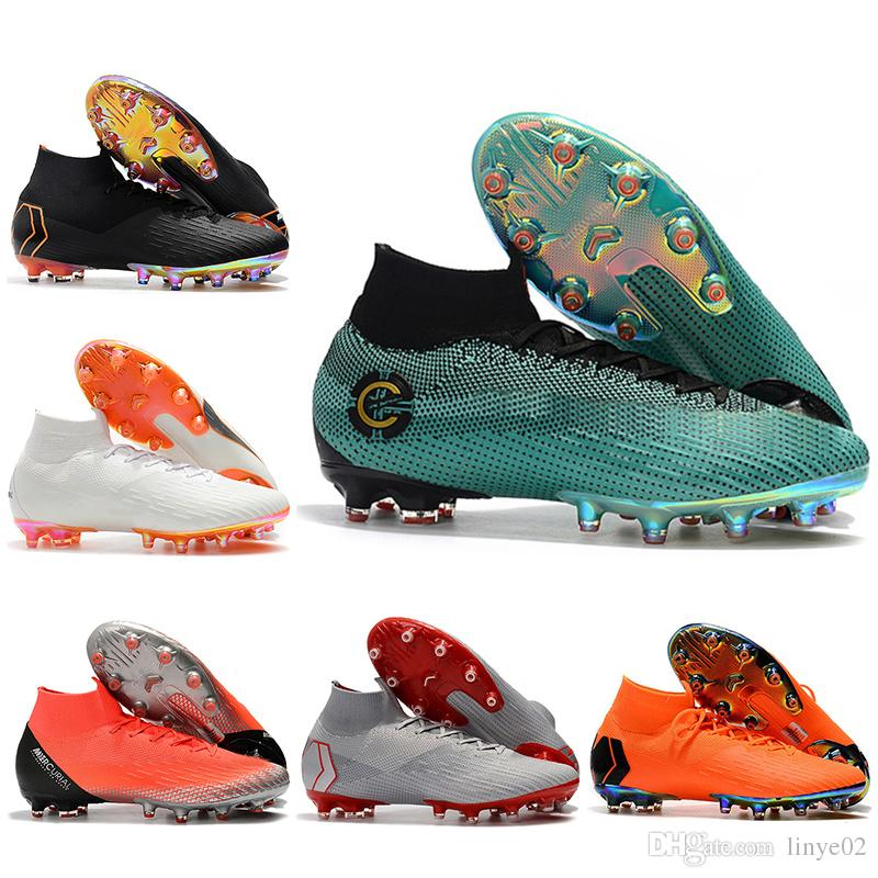 49e1e861485 New Mens High Ankle Football Boots CR7 Mercurial Superfly VI 360 Elite AG Soccer  Shoes Original Superfly ACC AG PRO Outdoor Soccer Cleats Office Shoes ...