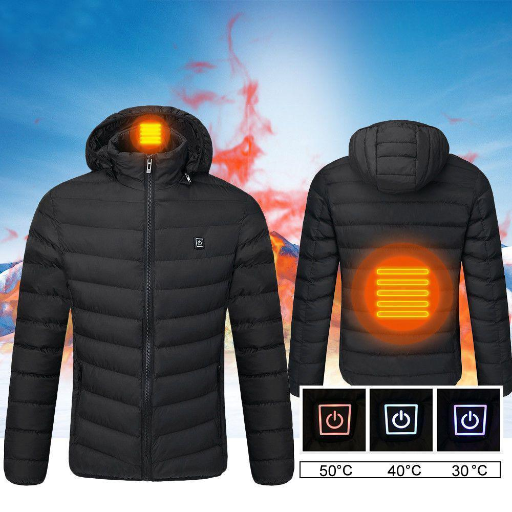 9ff0c3169 2019 New Fashion USB Electric Heated Mens Heating Hoodie Hooded Winter Warm  Jacket Coat Washable Plus S-4XL