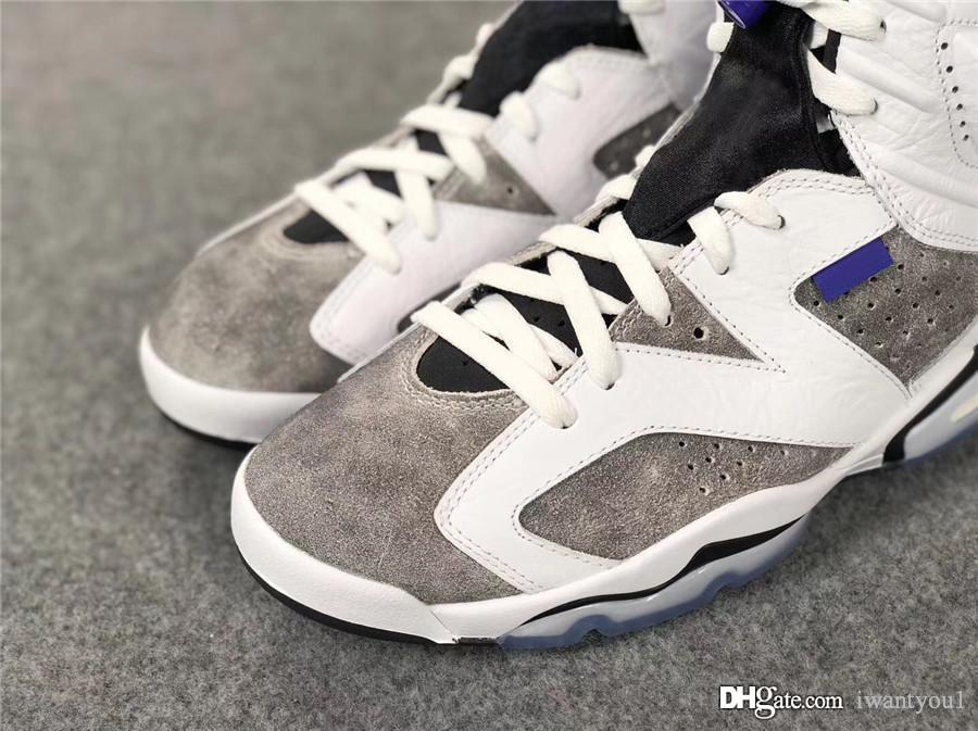 b565ab922bdaaa Cheap 2019 Authentic Air 6 LTR Flint Grey Basketball Shoes Men Sneakers  White Black Infrared 23 Dark Concord CI3125-100 With Original Box 40-47