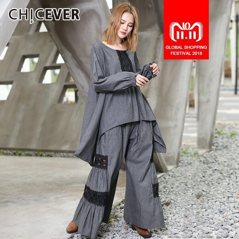 0fc518bea9ed9 CHICEVER Patchwork Lace Women s Suit Two Piece Set O Neck Asymmetric Hem  Tops Female T Shirts Elastic High Waist Trouser Fashion