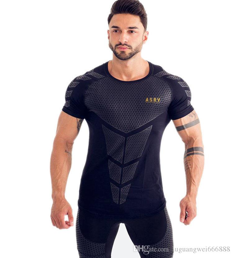 2019 new fashion Sports T-shirt Men's Fitness Short Sleeve 3D Digital Printing European and American Men's Tights gym t-shirt