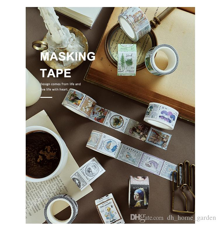 2019 Vintage Stamp series Decorative Adhesive Tape Masking Washi Tape DIY Scrapbooking Sticker Label japanese stationery 2016