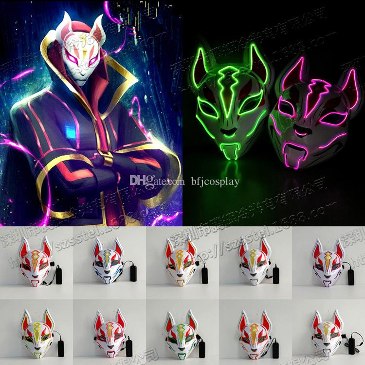 Game Fortnite Fox Mask Led Light Mask Halloween Party Cosplay Prop