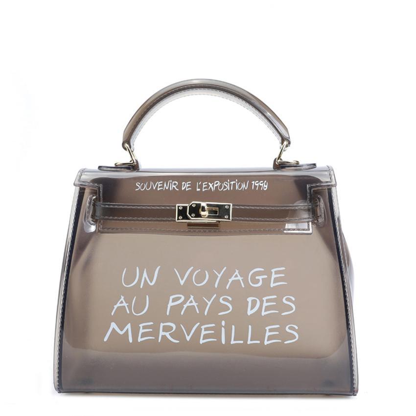 685b2fabe8ef Satchel Handbag Women Bag Clear Jelly Transparent PVC Bag Candy Color Tote Designer  Purse Bolsa Crossbody Cheap Designer Handbags Black Handbags From ...