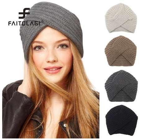 f894249fca3ec Kknitted Winter Hat Women Felt Hat Ladies Turban Head Wrap Caps For Women  Twist Headwrap Hat Girls Croceht Beanies Baby Beanies Beanie Hats For Women  From ...