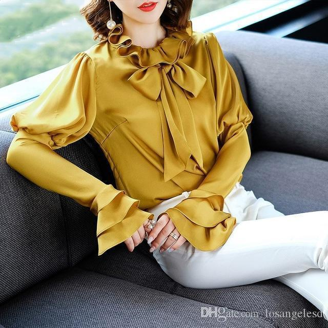Nice Fashion Designer Blouse Shirts Women Ruffled Collar Bow Tie Elegant Sexy Flare Sleeve Shirt Office Lady White Yellow Blouse