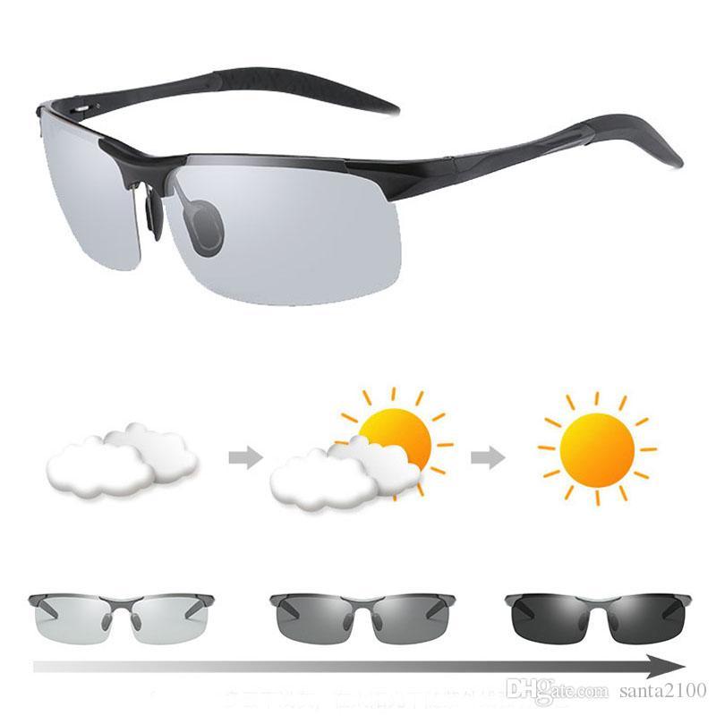 5f8f25e7e4a High Quality Men Photochromic Sunglasses Polarized UV400 Aluminium  Magnesium Driving Rider Sports Discoloration Change Color Sun Glasses Cheap  Prescription ...