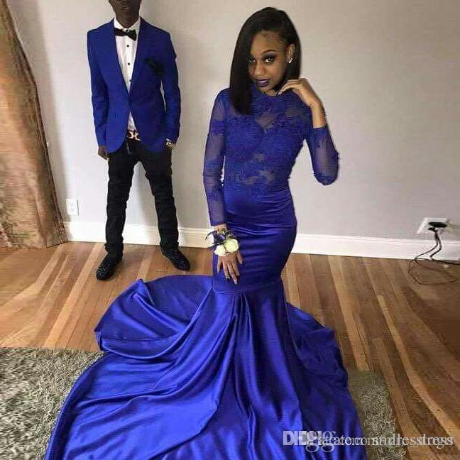 34612206b93 Sexy African Royal Blue Mermaid Prom Dresses 2019 Satin Appliques Lace Long  Sleeve Prom Dress Party Dress Exotic Prom Dresses Flirt Prom Dresses From  ...