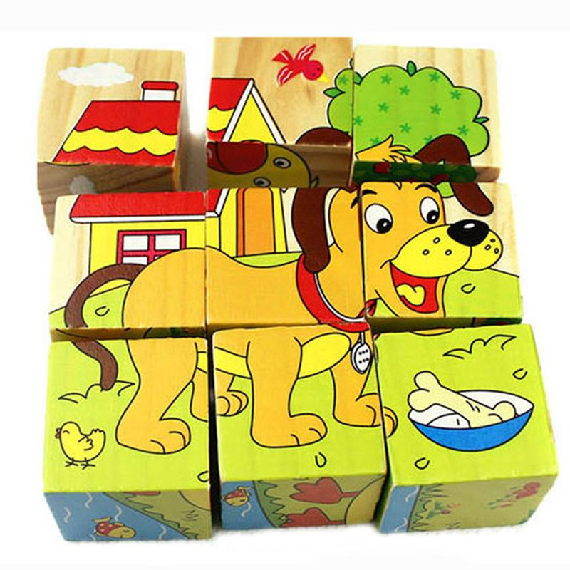 Wooden Cartoon Animal Puzzle Toys 6 Sides Wisdom Jigsaw Early Education Learning Toys For Children Game 9pcs Single 3D Puzzle