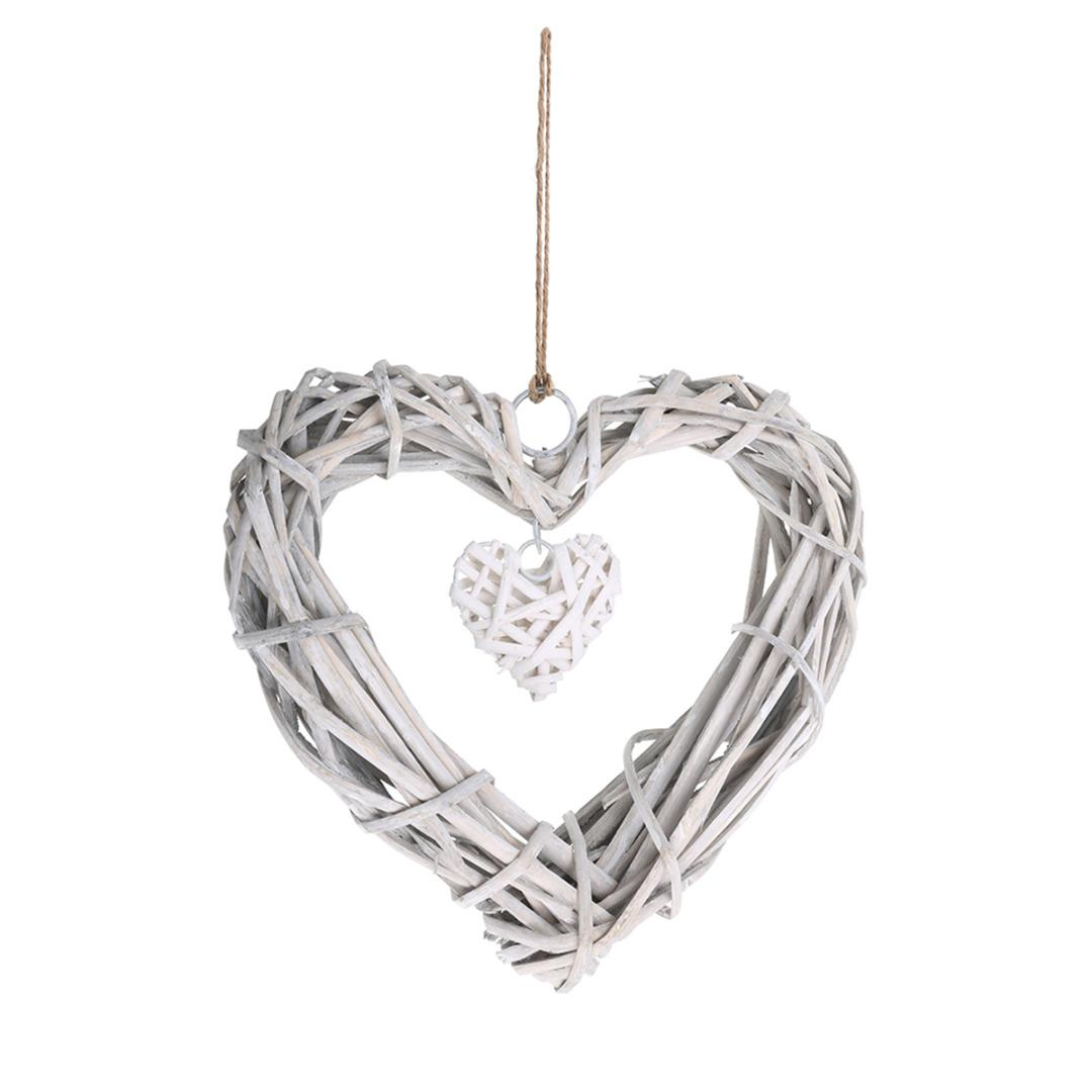 Wicker Hanging Hearts Wicker Wreath for Home Wall Hanging Artificial Wreath DIY Wedding Birthday Party Decorations