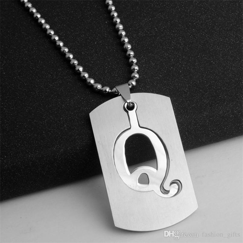 10Q detachable stainless steel Q 26 English initial letter symbol name sign  necklace American alphabet letter double layer text jewelry