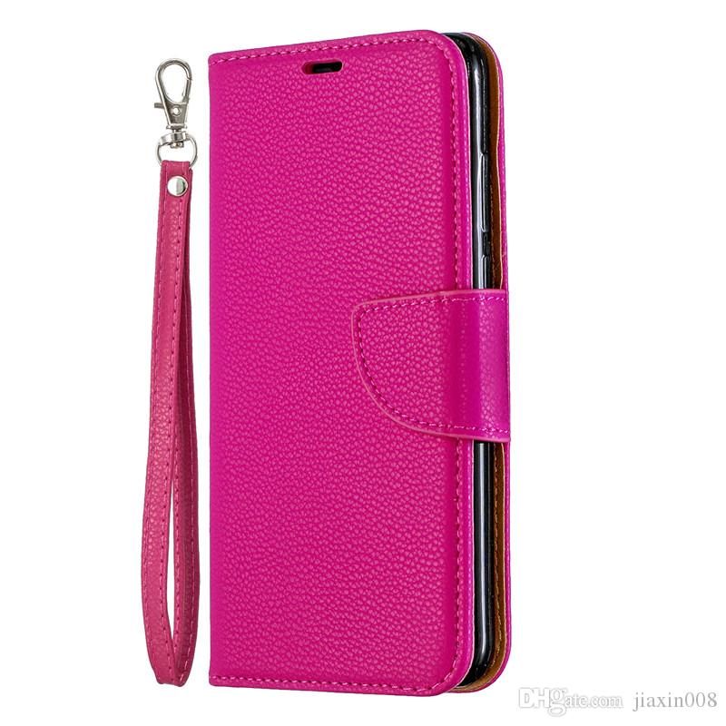competitive price 47455 386de Flip Cover Stand Wallet For Huawei P30 Lite Case Pure Color Lichee Pattern  PU Leather Mobile Phone Cases For Huawei NOVA 4E