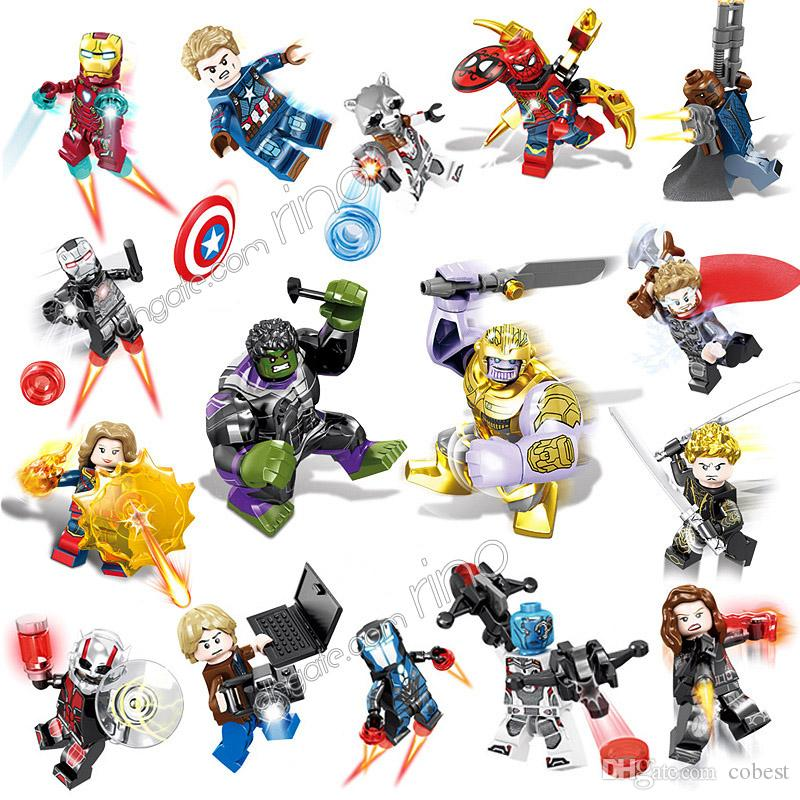 the Avengers Endgame building blocks Sets 16pcs Marvel Kid Toys Gifts Mini Superhero Iron Man Captain America Black Widow Thor Hulk Figures