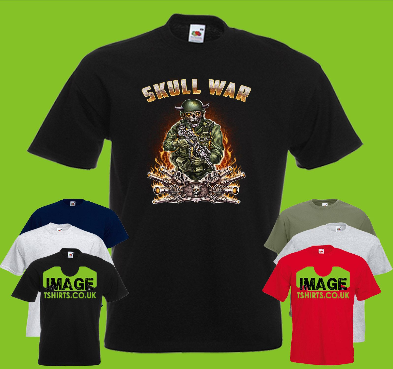 Skull War Guns Mens PRINTED TSHIRT TEE SHIRT T-SHIRT Army Art Gun Sniper