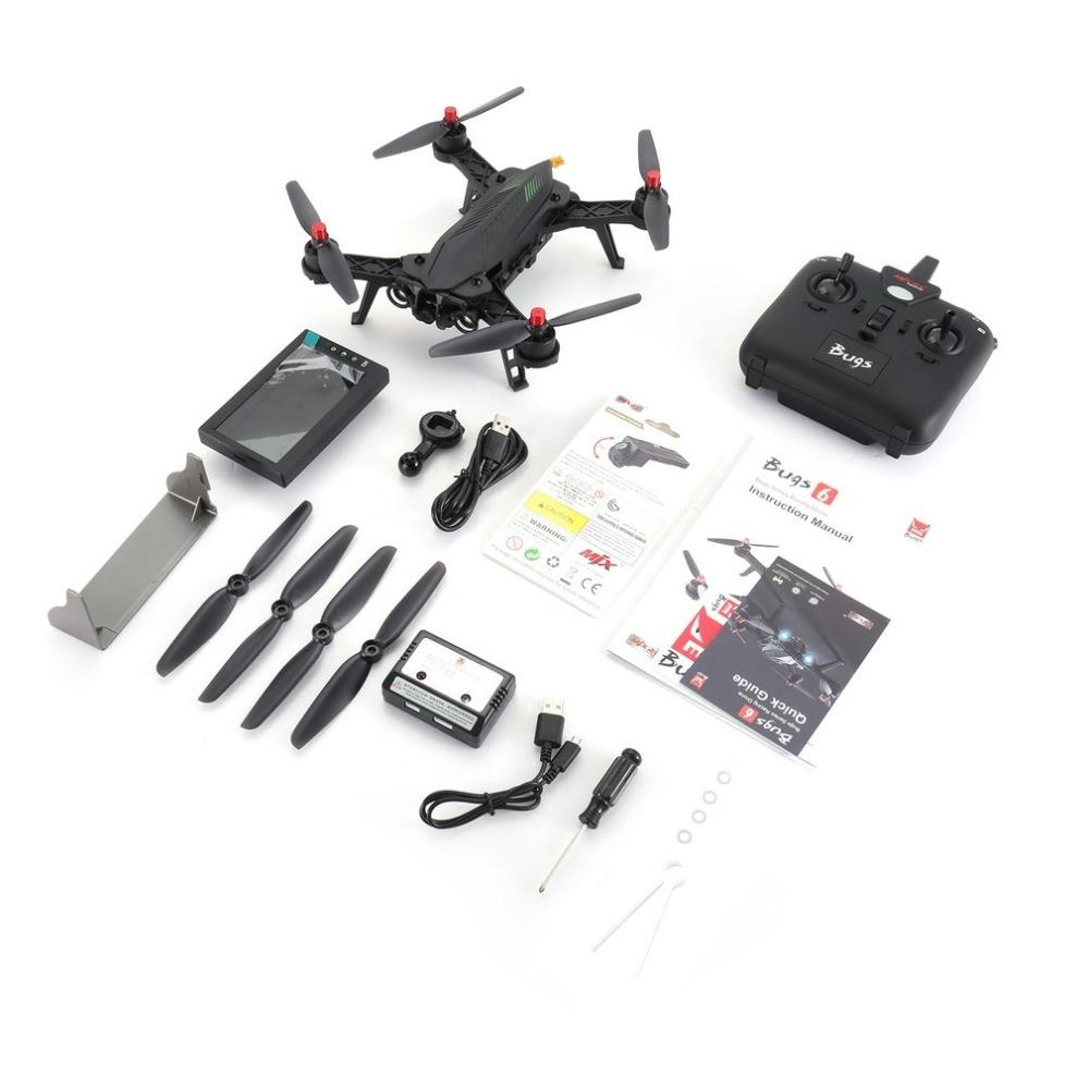 MJX Bugs 6 B6 2 4GHz 4CH 6 Axis Gyro RTF Drone With HD 720P 5 8G FPV Camera  And 4 3 LCD RX Monitor Brushless RC Quadcopter