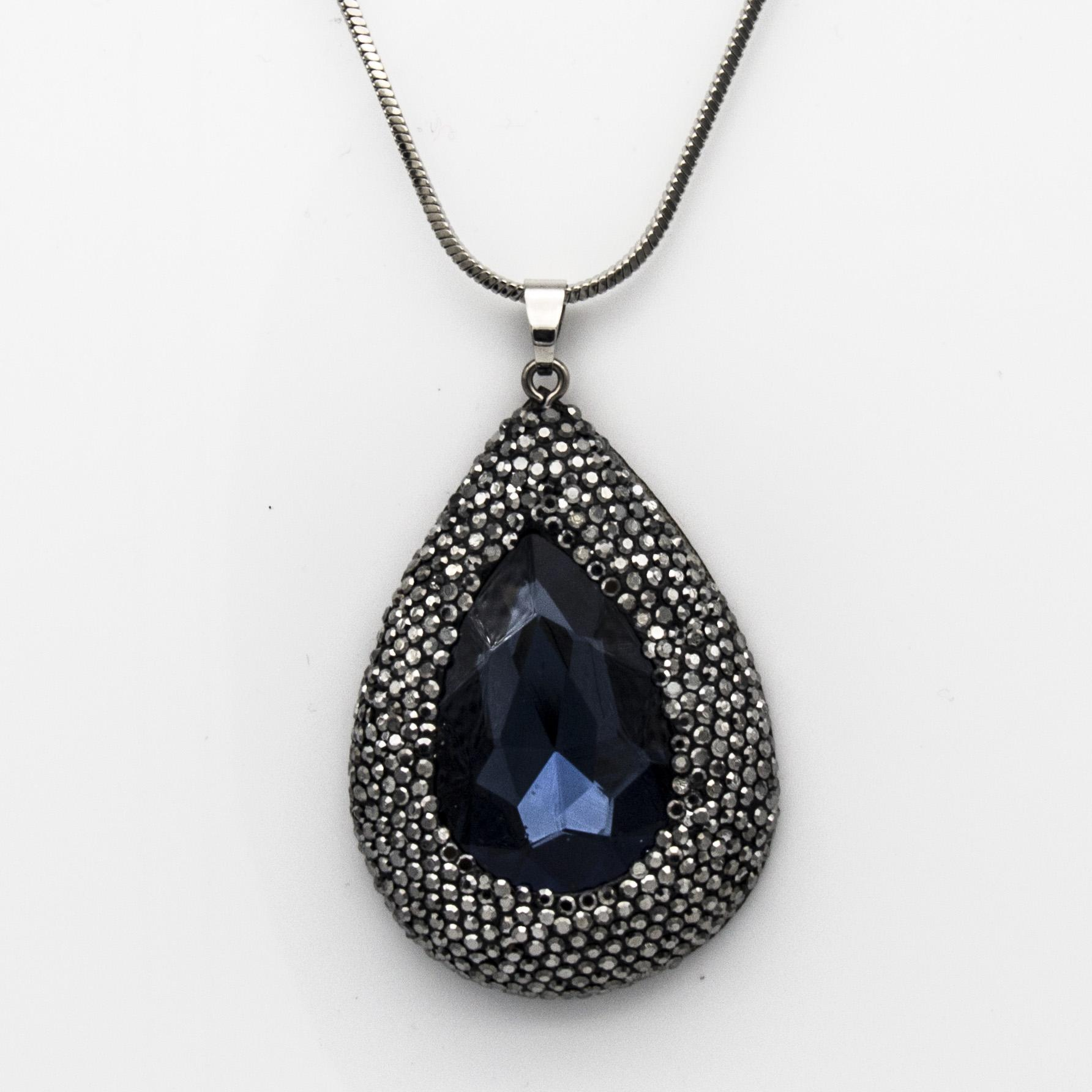 6dc0323a2 Wholesale Designer Clay Black Rhinestone Crystal Water Drop Pendant Chain  Necklace Blue Green & Gold Color Couture Jewelry Gifts For Women Wholesale  Silver ...