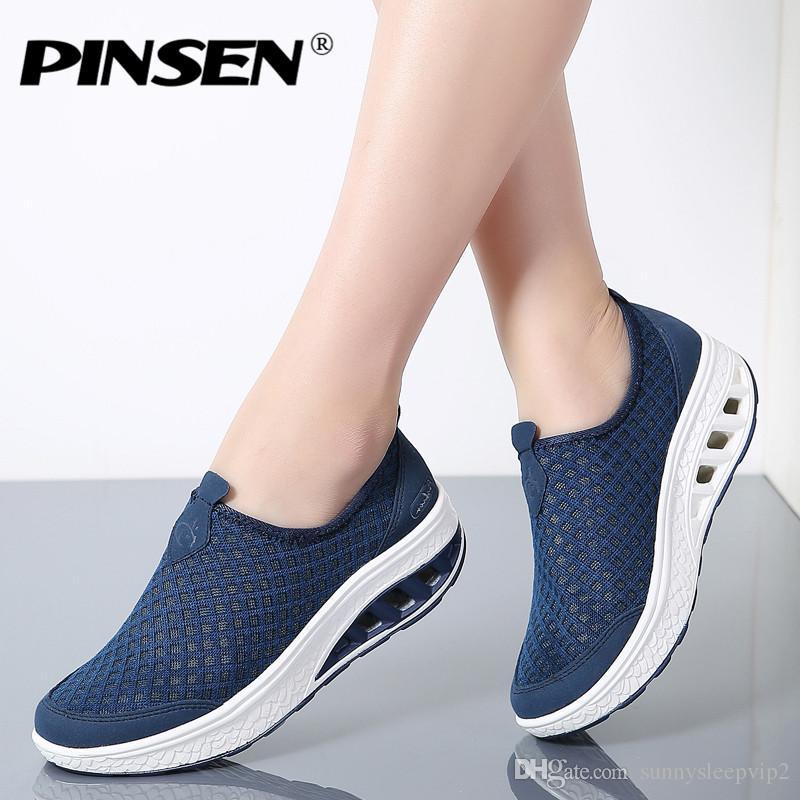 8d3dd08e1 PINSEN 2019 Summer Platform Women Sneakers Shoes Slip On Moccasins ...