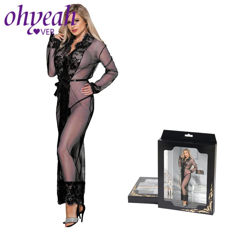 Ohyeahlover Transparent Lingerie Long Sleeve Sexy Clothes Lace Sleepwear Eyelash Sex Dress Long Nightgown Plus Size 5xl Rm80507 J190614