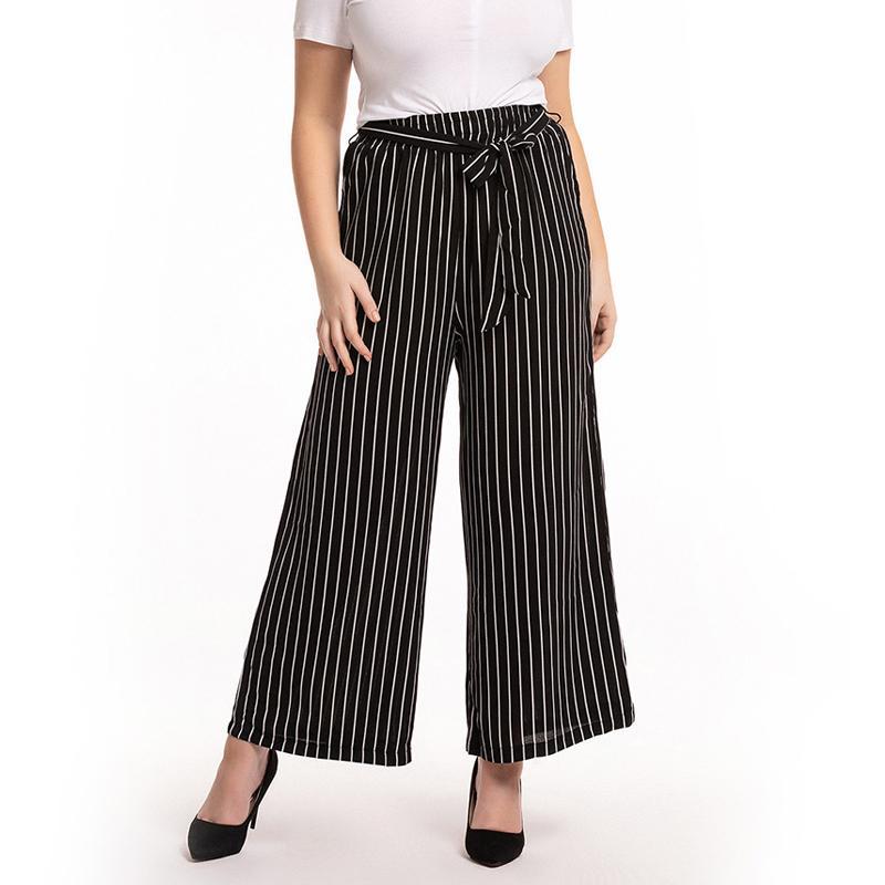 042ea39fd53c Compre Pantalon Femme Verano 2019 Pantalones Anchos De Cintura Alta  Pantalón Tallas Grandes Verano Mujer Encuadre De Cuerpo Entero Raya Negra  Pantalones ...