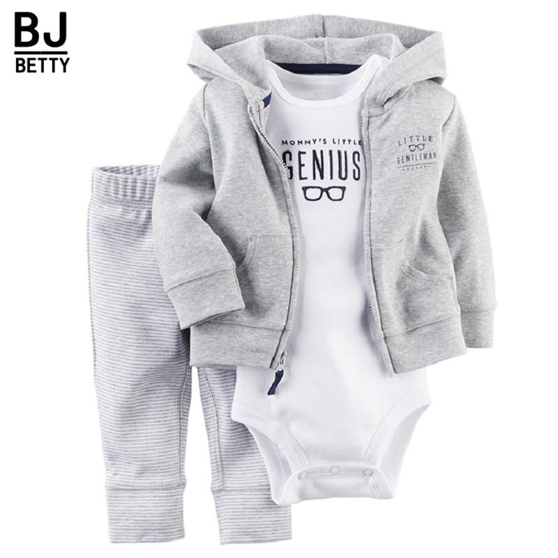 2018 Latest Casual Newborn 6 9 12 18 Months Cardigan Pants Set Baby Boy Clothes Outfit Gray Bodysuit Baby Boy