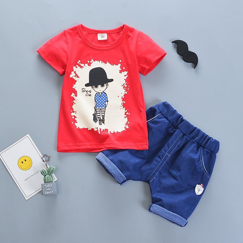 Compre Boa Qualidade Conjuntos De Roupas De Bebê 2019 Novo Verão Meninos  Roupas Terno Moda Dos Desenhos Animados De Algodão T Shirt + Calças Para 1  4 Anos ... b0b0b572a96
