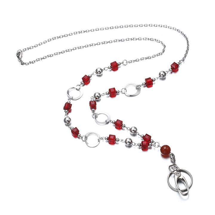 New Fashion Lanyard Necklace For Women Crystal Beads Badge Holder for Keys Women ID Necklaces Badge Holder