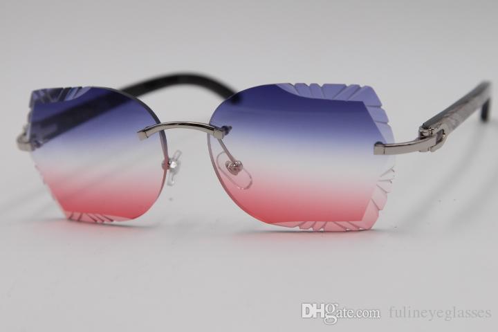 1add255a9 Compre 2019 Frete Grátis Rimless Sunglasses Esculpida Lente 8200762 Preto  Flor Chifre De Búfalo Óculos De Sol Novos Óculos Sem Aro Quente Unisex  SunGlasses ...