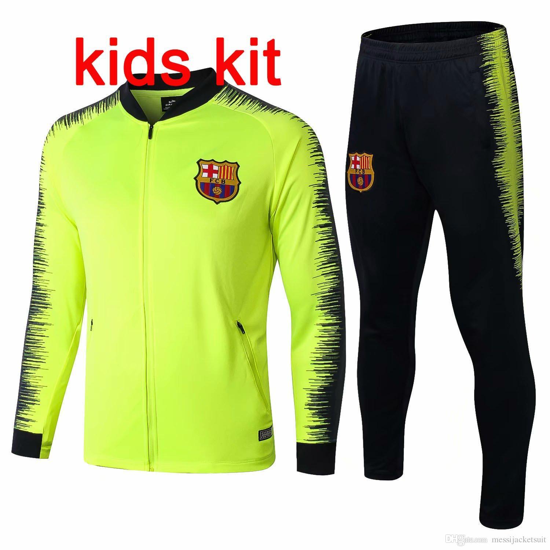 wholesale dealer bea09 a804a Top quality Barcelona green jacket kids tracksuits 18 19 Messi soccer  jersey O.DEMBELE PIQUE training suit Coutinho SUAREZ maillot de foot