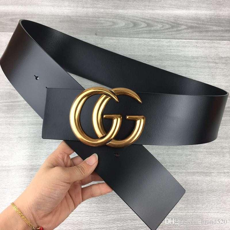 Fashion brand belt 2019 best-selling lady wide belt gold buckle black and red belt body width 7cm free delivery