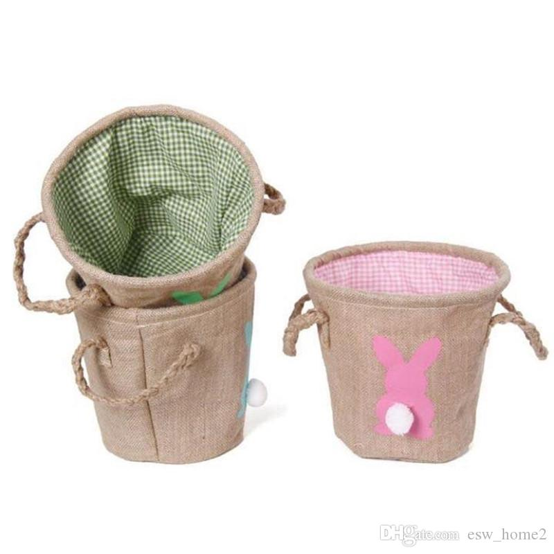 Easter Baskets DIY Eggs Rabbit Burlap Bags 3 Colors Jute Rabbit Tail Basket Cute Storage Handbags Party Decoration