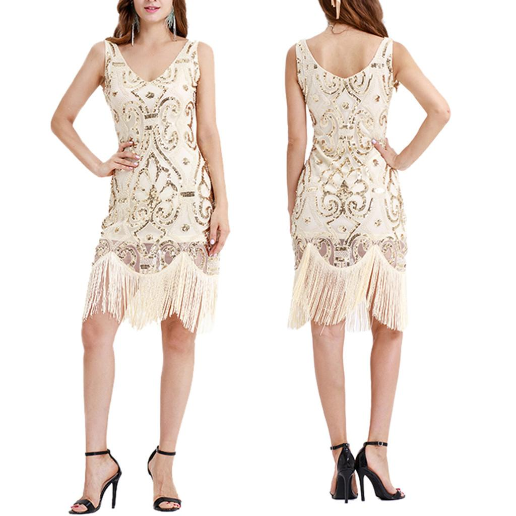 01e6228c42c Fashion Spring Summer Women Vintage 1920s Bead Fringe Sequin Lace Glitter Dress  Party Flapper Cocktail Sexy Dress For Female Cute Red Party Dresses  Sundress ...