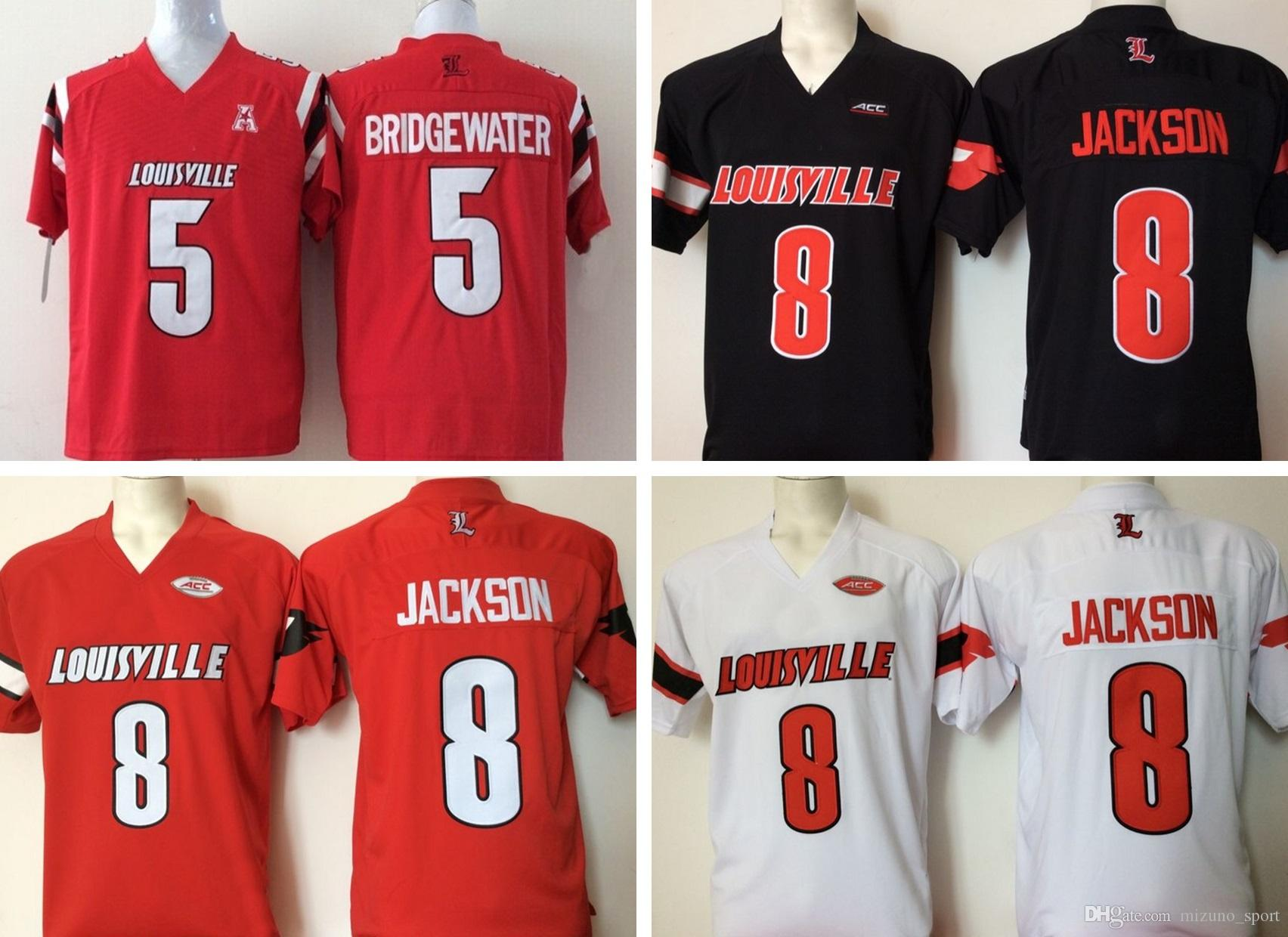 hot sale online 29882 f940f Cheap Ncaa Louisville Cardinals Red 8 Lamar Jackson 5 Bridgewater 2017 New  Style Mens College Football Jersey Men Jerseys