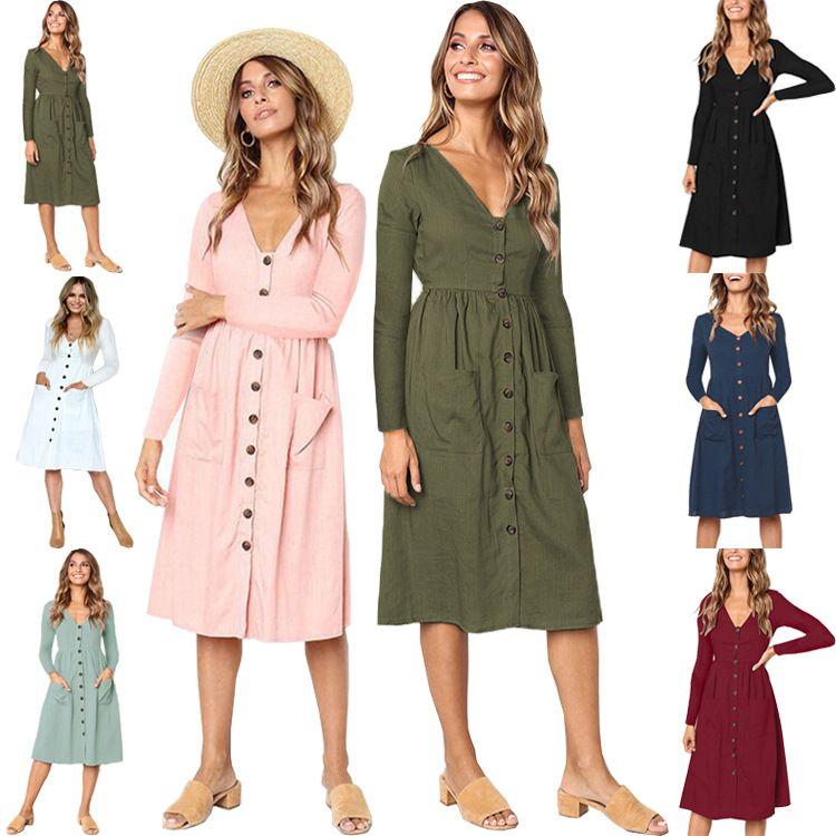 aa1b588339 Summer Europe American Dress Fall Women Skirt Casual Dresses Ladies ...