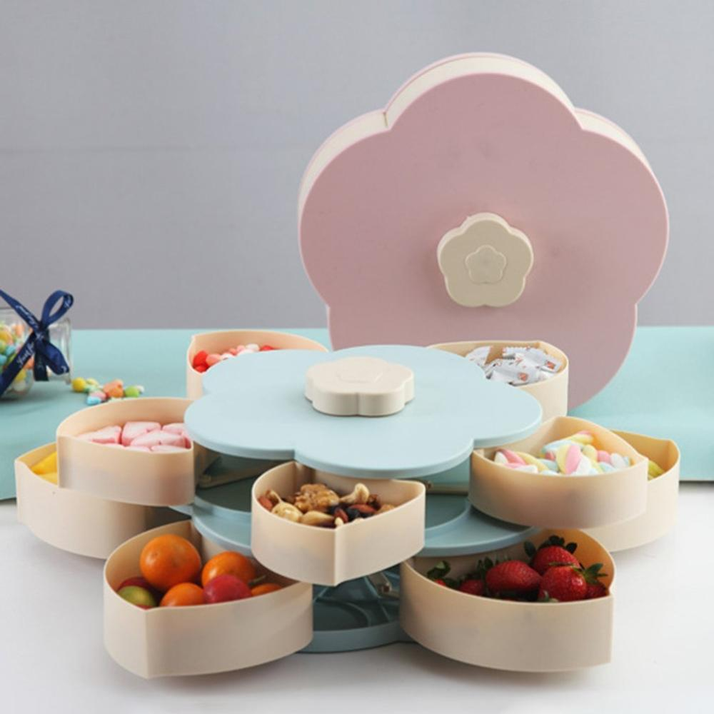 Bloom Snack Box Creative Pattern Rotating Double Fruit Bowl Double Candy Box Wedding Candy Petal Fruit Seed