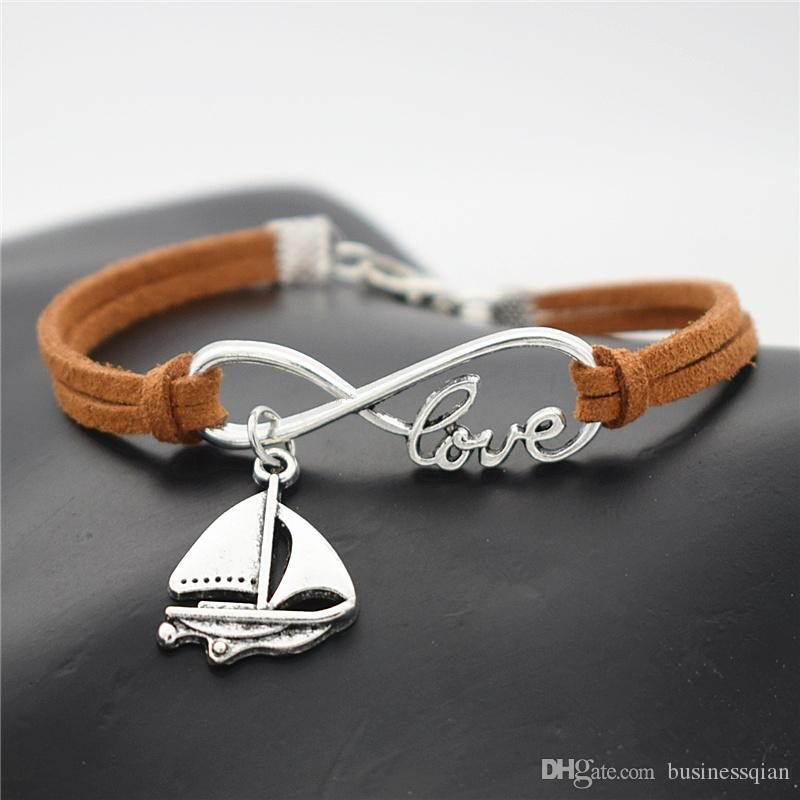 2019 Korean Designer Fashion Brown Leather Suede Accessories Infinity Love Sailing Ship Sail Boat Shaped Amulet Bracelets Bangles Men Women