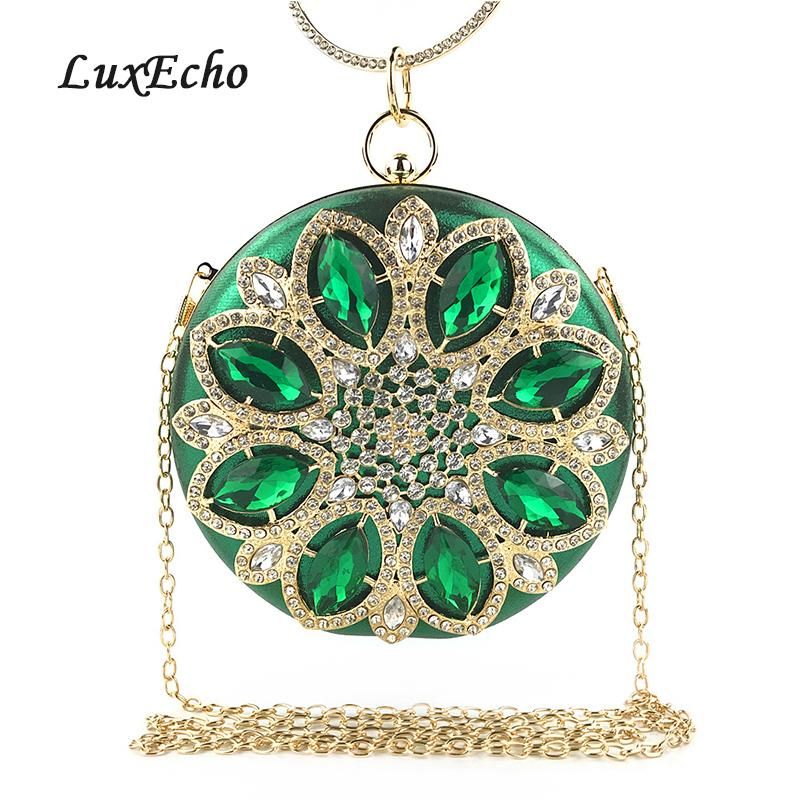 20640ffbd1 Round Crystal Evening Bags Women's Day Clutches Fashion Bags Handmade  Wedding Purse Diamonds purse Party shoulder