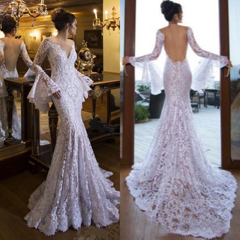 Sexy Backless Mermaid Wedding Dresses Full Lace 2019 Long Bell Sleeve V Neck  Bohemian Beach Boho Bridal Gowns Cheap Bride Dress Plus Size Royal Wedding  ... a8d133c92cdf