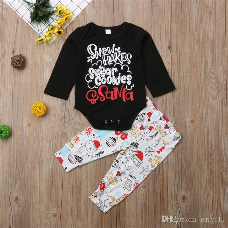 Christmas baby kids clothes Outfits christmas Long sleeve printed letter tops jumpsuits+Cartoon characters trousers two pieces set JY660